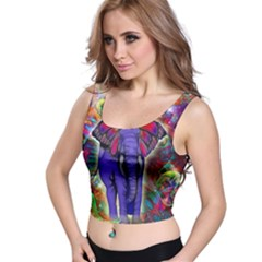 Abstract Elephant With Butterfly Ears Colorful Galaxy Crop Top
