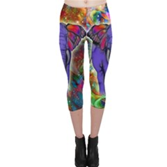 Abstract Elephant With Butterfly Ears Colorful Galaxy Capri Leggings