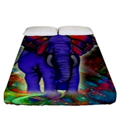 Abstract Elephant With Butterfly Ears Colorful Galaxy Fitted Sheet (king Size)