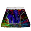 Abstract Elephant With Butterfly Ears Colorful Galaxy Fitted Sheet (California King Size) View1