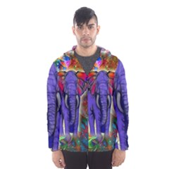 Abstract Elephant With Butterfly Ears Colorful Galaxy Hooded Wind Breaker (men)