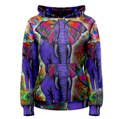 Abstract Elephant With Butterfly Ears Colorful Galaxy Women s Pullover Hoodie