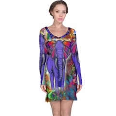 Abstract Elephant With Butterfly Ears Colorful Galaxy Long Sleeve Nightdress