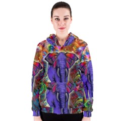 Abstract Elephant With Butterfly Ears Colorful Galaxy Women s Zipper Hoodie