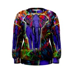 Abstract Elephant With Butterfly Ears Colorful Galaxy Women s Sweatshirt