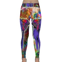 Abstract Elephant With Butterfly Ears Colorful Galaxy Classic Yoga Leggings