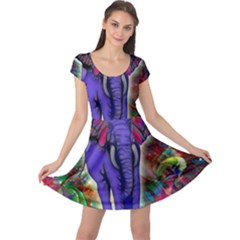 Abstract Elephant With Butterfly Ears Colorful Galaxy Cap Sleeve Dresses