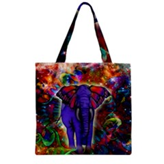 Abstract Elephant With Butterfly Ears Colorful Galaxy Zipper Grocery Tote Bag