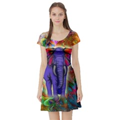 Abstract Elephant With Butterfly Ears Colorful Galaxy Short Sleeve Skater Dress