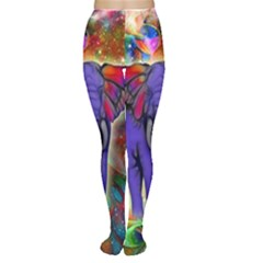 Abstract Elephant With Butterfly Ears Colorful Galaxy Women s Tights