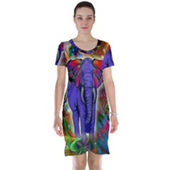 Abstract Elephant With Butterfly Ears Colorful Galaxy Short Sleeve Nightdress