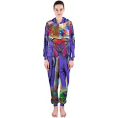 Abstract Elephant With Butterfly Ears Colorful Galaxy Hooded Jumpsuit (ladies)