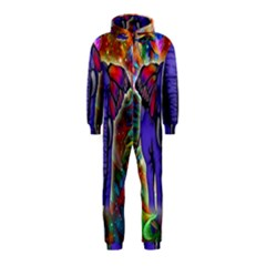 Abstract Elephant With Butterfly Ears Colorful Galaxy Hooded Jumpsuit (kids)
