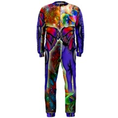 Abstract Elephant With Butterfly Ears Colorful Galaxy Onepiece Jumpsuit (men)