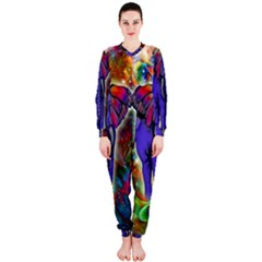 Abstract Elephant With Butterfly Ears Colorful Galaxy Onepiece Jumpsuit (ladies)
