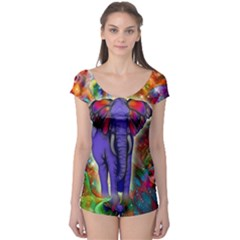 Abstract Elephant With Butterfly Ears Colorful Galaxy Boyleg Leotard