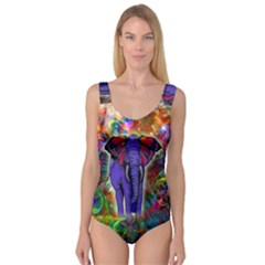 Abstract Elephant With Butterfly Ears Colorful Galaxy Princess Tank Leotard