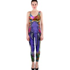 Abstract Elephant With Butterfly Ears Colorful Galaxy Onepiece Catsuit