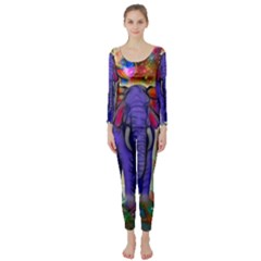 Abstract Elephant With Butterfly Ears Colorful Galaxy Long Sleeve Catsuit