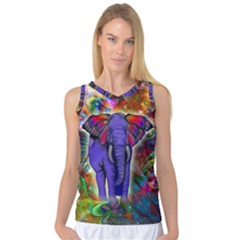 Abstract Elephant With Butterfly Ears Colorful Galaxy Women s Basketball Tank Top