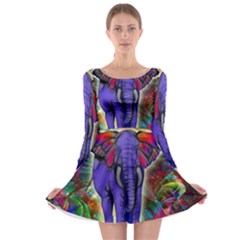 Abstract Elephant With Butterfly Ears Colorful Galaxy Long Sleeve Skater Dress