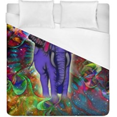 Abstract Elephant With Butterfly Ears Colorful Galaxy Duvet Cover (king Size)