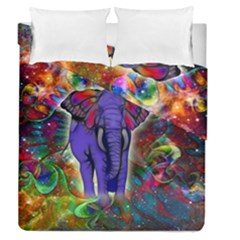Abstract Elephant With Butterfly Ears Colorful Galaxy Duvet Cover Double Side (queen Size)