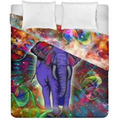 Abstract Elephant With Butterfly Ears Colorful Galaxy Duvet Cover Double Side (california King Size)