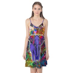 Abstract Elephant With Butterfly Ears Colorful Galaxy Camis Nightgown