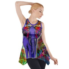 Abstract Elephant With Butterfly Ears Colorful Galaxy Side Drop Tank Tunic