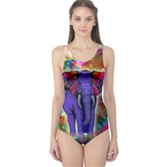Abstract Elephant With Butterfly Ears Colorful Galaxy One Piece Swimsuit