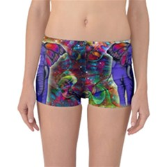 Abstract Elephant With Butterfly Ears Colorful Galaxy Reversible Bikini Bottoms