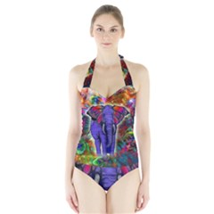 Abstract Elephant With Butterfly Ears Colorful Galaxy Halter Swimsuit