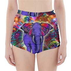 Abstract Elephant With Butterfly Ears Colorful Galaxy High Waisted Bikini Bottoms