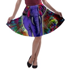 Abstract Elephant With Butterfly Ears Colorful Galaxy A Line Skater Skirt