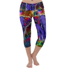 Abstract Elephant With Butterfly Ears Colorful Galaxy Capri Yoga Leggings