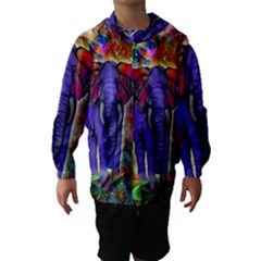 Abstract Elephant With Butterfly Ears Colorful Galaxy Hooded Wind Breaker (kids)