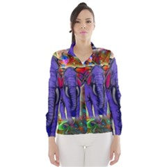 Abstract Elephant With Butterfly Ears Colorful Galaxy Wind Breaker (women)