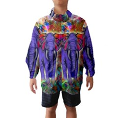 Abstract Elephant With Butterfly Ears Colorful Galaxy Wind Breaker (kids)