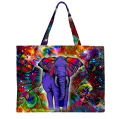 Abstract Elephant With Butterfly Ears Colorful Galaxy Zipper Large Tote Bag