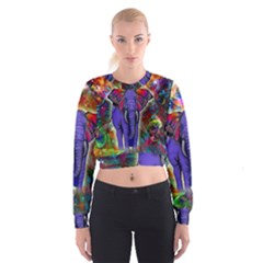 Abstract Elephant With Butterfly Ears Colorful Galaxy Women s Cropped Sweatshirt