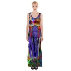 Abstract Elephant With Butterfly Ears Colorful Galaxy Maxi Thigh Split Dress