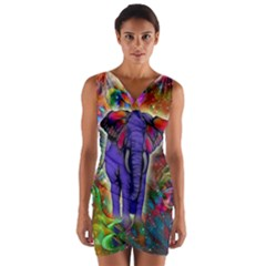 Abstract Elephant With Butterfly Ears Colorful Galaxy Wrap Front Bodycon Dress