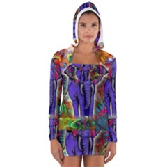Abstract Elephant With Butterfly Ears Colorful Galaxy Women s Long Sleeve Hooded T Shirt