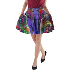 Abstract Elephant With Butterfly Ears Colorful Galaxy A Line Pocket Skirt