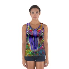 Abstract Elephant With Butterfly Ears Colorful Galaxy Women s Sport Tank Top