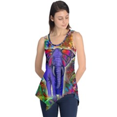 Abstract Elephant With Butterfly Ears Colorful Galaxy Sleeveless Tunic