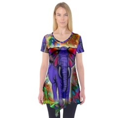 Abstract Elephant With Butterfly Ears Colorful Galaxy Short Sleeve Tunic