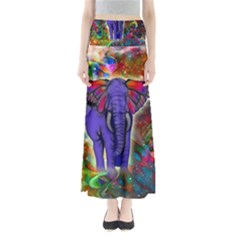 Abstract Elephant With Butterfly Ears Colorful Galaxy Maxi Skirts