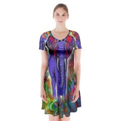 Abstract Elephant With Butterfly Ears Colorful Galaxy Short Sleeve V Neck Flare Dress